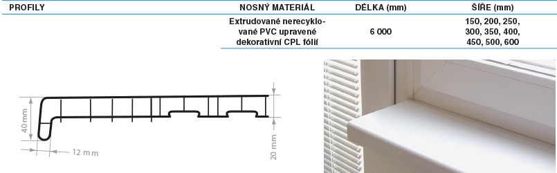 Parapety vnitřní PVC REHAU 350 mm Barva: mramor
