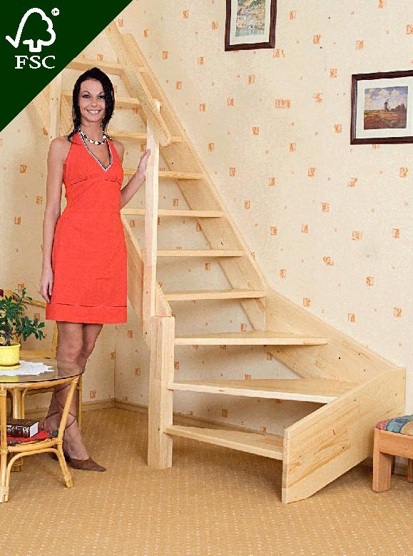 Mlynářské schody zatočené - levé Výška schodu: 140 cm.