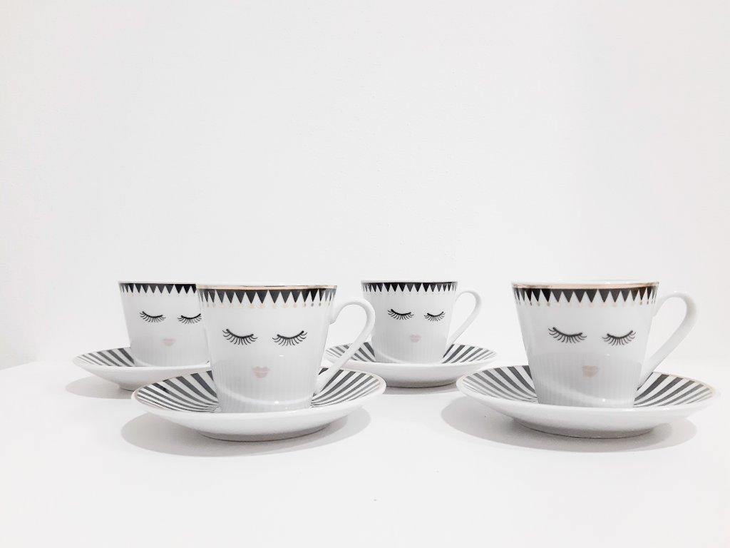 Set 4 espresso hrnčekov s podšálkami 60 ml - Eyes