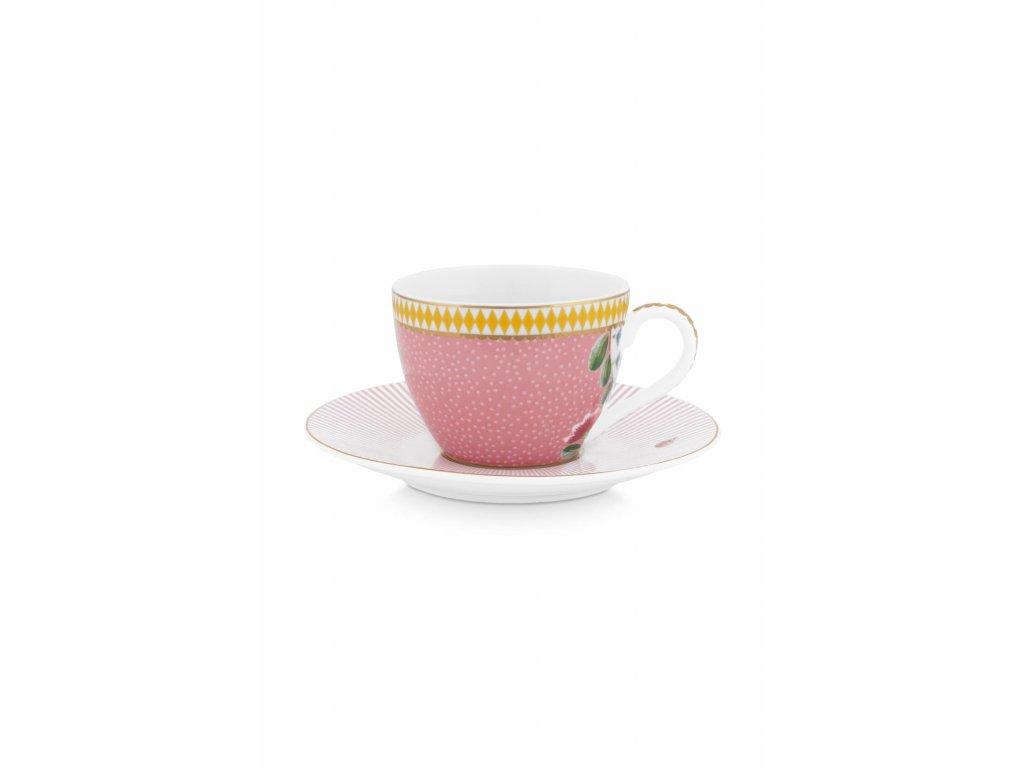 Espresso šálka s tanierikom 120 ml ružová