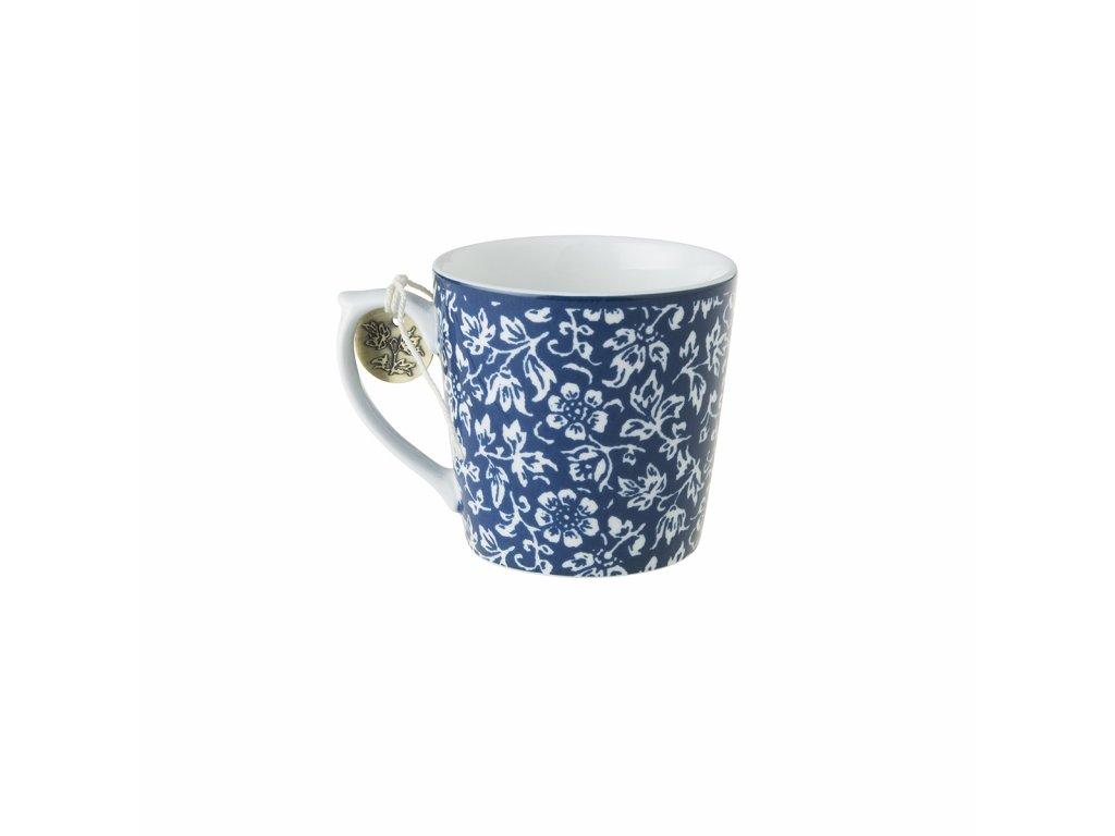 Hrnček na kávu modrý biele kvety
