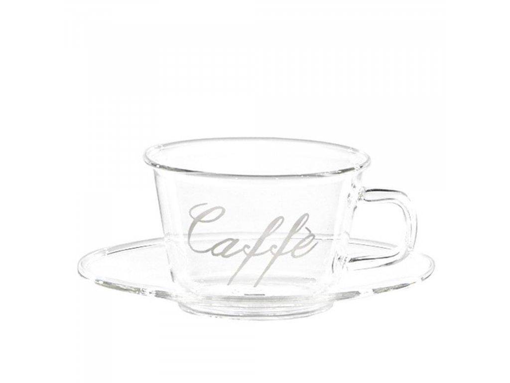 šálka na kávu sklenený tanierik