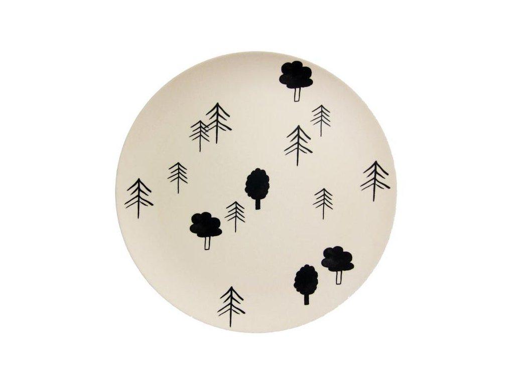 Bambusový tanier vzor Stromy