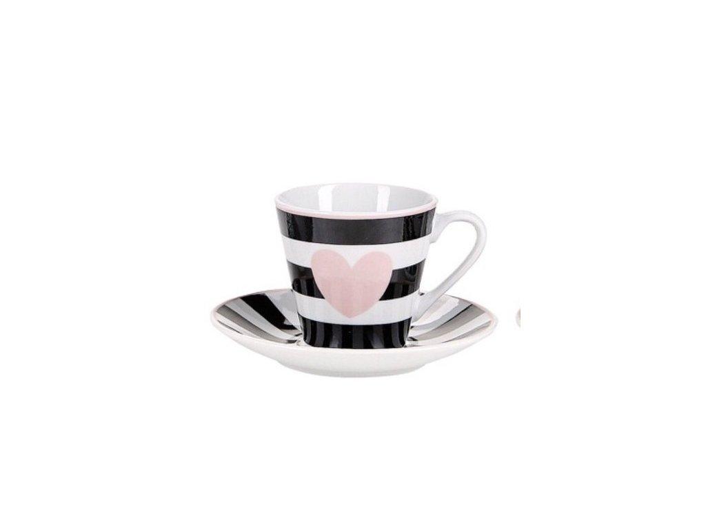 Pruhovaný espresso hrnček ružové srdce
