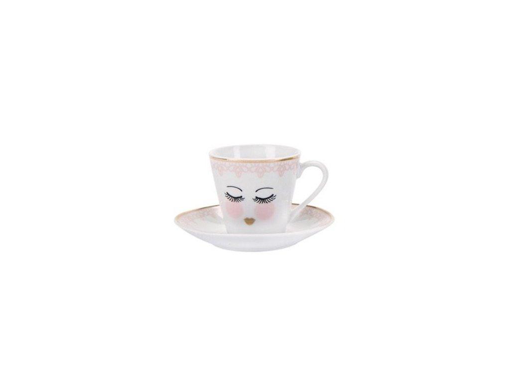 Zatvorené oči ružový espresso čipka