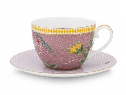 šálka s tanierikom la majorelle ružová