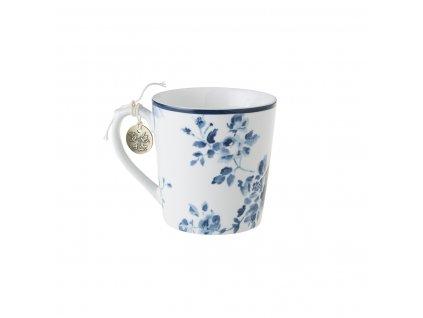 Hrnček bielo modré kvety