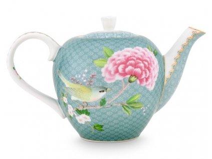 čajník blushing birds blue malý