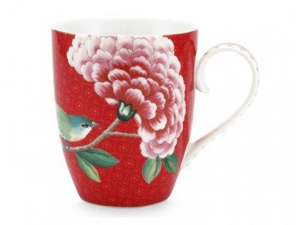 hrnček červený s kvetmi