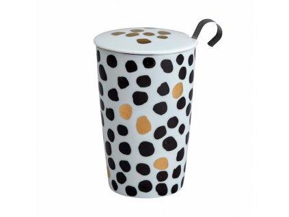 Porcelánový termohrnček TEAEVE Black White bodky