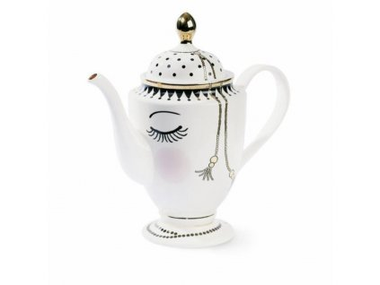 teapot coffee pot with eyes and dots