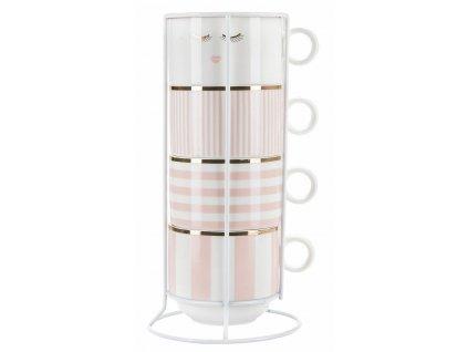 Hrnčeky na kávu ružovo biele