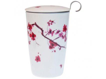 Porcelánový hrnček Teaeve so sitkom na sypaný čajCherry Blossom