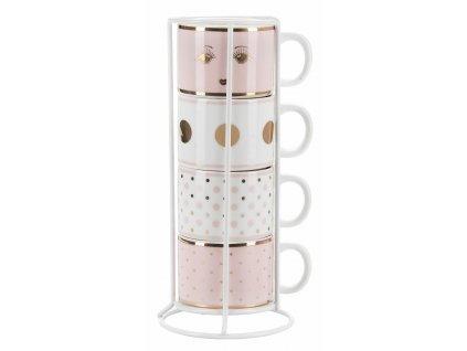 Hrnčeky na espresso ružovo biele