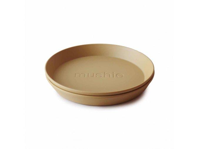 Mushie okrúhly tanier 2 ks Mustard