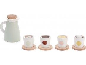 Kids Concept Konvička dřevěná se 4 šálky Bistro