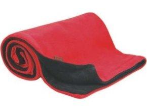 Deka 70x100 cm fleece antracit + červená