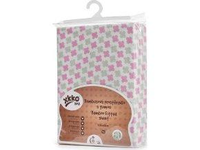 Bambusové prostěradlo s gumou XKKO BMB 120x60 - Baby Pink Cross