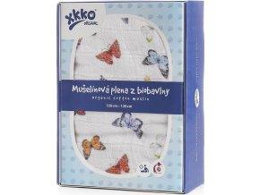 Biobavlněná plena XKKO Organic 120x120 - Butterflies