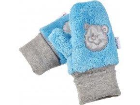Rukavice s palcem MAZLÍK Outlast® - azurově modrá/pruh azurový