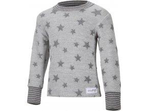 Mikina hvězdičky - šedý melír hvězdičky