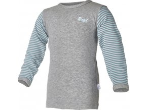 Tričko smyk DR LA Outlast® - šedý melír/pruh mentolový