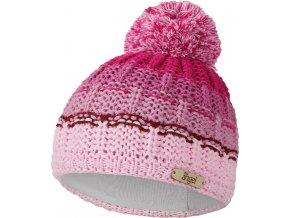 Čepice pletená duha s bambulí Outlast ® - růžová