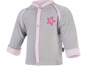 Kabátek podšitý Outlast® - šedá puntík/růžová baby