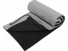 Deka 70x100 fleece - černý+sv.šedá