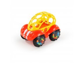 Oball Hračka autíčko Rattle & Roll Oball™ červeno/žluté 3m+