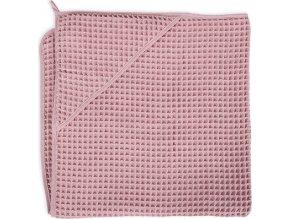 Ceba Osuška s kapucí Froté Waffle Line 100x100 Silver Pink Ceba