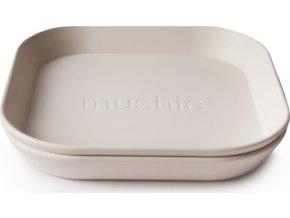 Mushie hranatý talíř 2 ks (Barva ivory)