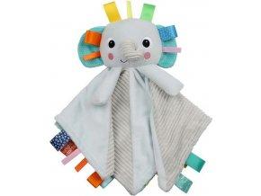 BRIGHT STARTS Dečka mazlící s hlavou Cuddle'n Tags slon 0m+