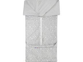 Fusak 2v1 BARY bavlna světle šedá + stříbrný potisk kytky