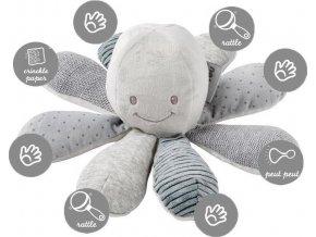 NATTOU Hračka chobotnička edukační 8 aktivit Lapidou grey