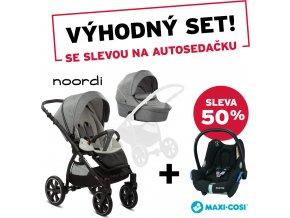 Noordi Kočárek Fjordi II 2v1 Dark Grey + CabrioFix autosedačka Frequency Black