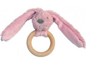 Happy Horse | Králíček Old pink Richie s dřevěným kroužkem