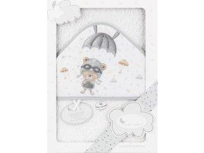 INTERBABY | OSUŠKA froté Medvídek s padákem - bílá šedý lem