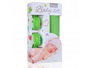 Baby set - bambusová osuška green / zelená + kočárkový kolíček green / zelená