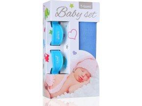 Baby set - bambusová osuška blue / modrá + kočárkový kolíček blue / modrá