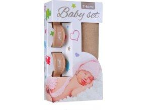 Baby set - bambusová osuška beige / béžová + kočárkový kolíček beige / béžová
