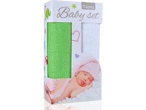 Baby set - bambusová osuška green / zelená + bambusová osuška white / bílá