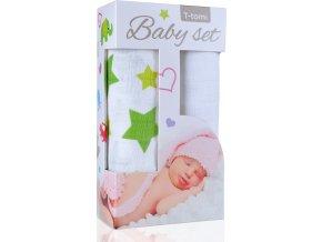 Baby set - bambusová osuška green stars / zelené hvězdičky + bambusová osuška white / bílá