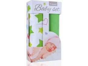 Baby set - bambusová osuška green stars / zelené hvězdičky + bambusová osuška green / zelená