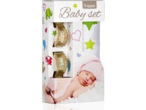 Baby set - bambusová osuška green stars / zelené hvězdičky + kočárkový kolíček gold / zlatá