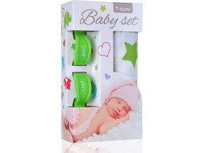 Baby set - bambusová osuška green stars / zelené hvězdičky + kočárkový kolíček green / zelená