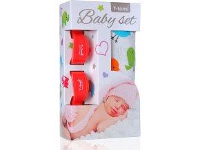 Baby set - bambusová osuška birds / ptáčci + kočárkový kolíček red / červená