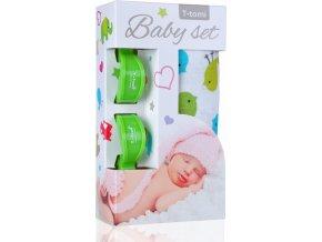 Baby set - bambusová osuška birds / ptáčci + kočárkový kolíček green / zelená