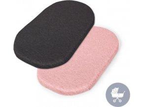 CEBA CEBA Prostěradlo do kočárku 73-80 x 30-37 cm 2 ks Dark Grey+Pink