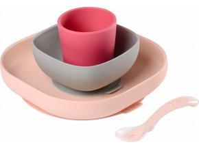 Beaba Jídelní sada silikonová 4-dílná Pink
